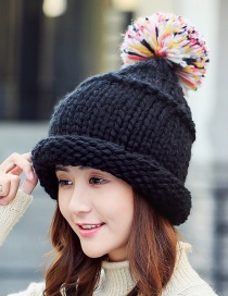 Fashion Black Fuzzy Ball Decorated Hat