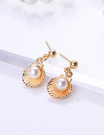 Fashion Gold Color Shell Shape Decorated Earrings
