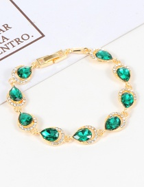 Fashion Green Water Drop Shape Diamond Decorated Bracelet