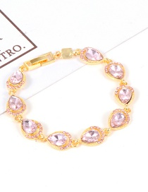 Fashion Pink Water Drop Shape Diamond Decorated Bracelet
