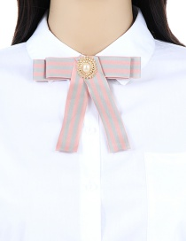 Fashion Multi-color Stripe Pattern Decorated Bowknot Brooch