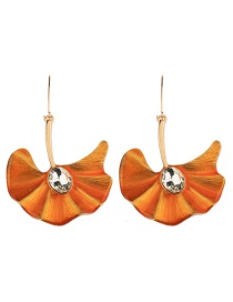 Exaggerated Orange Ginkgo Leaves Shape Decorated Earrings