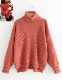 Trendy Red Stripe Design Pure Color Sweater