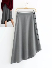 Trendy Gray Buttons Decorated Asymmetric Skirt