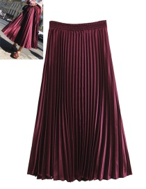 Trendy Claret Red Pure Color Decorated Simple Skirt