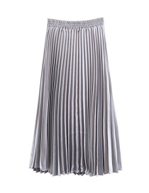 Trendy Silver Color Pure Color Decorated Simple Skirt