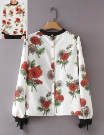 Trendy White Flower Pattern Decorated Long Sleeves Blouse