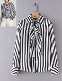 Trendy White+black Stripe Pattern Decorated Long Sleeves Shirt