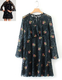 Trendy Dark Green Embroidery Flower Decorated Lace Dress