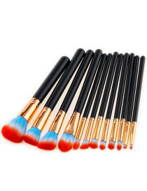 Trendy Blue+red Color Matching Decorated Makeup Brush(12pcs)