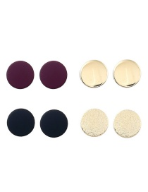 Trendy Multi-color Round Shape Decorated Simple Earrings(4pcs)