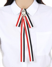 Trendy Red+white Stripe Pattern Decorated Bowknot Brooch