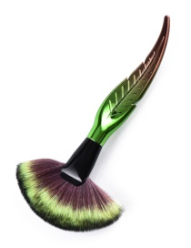 Trendy Green+brown Sector Shape Decorated Makeup Brush(1pc)