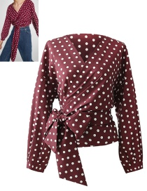 Trendy Red Dots Pattern Decorated Long Sleeves Blouse