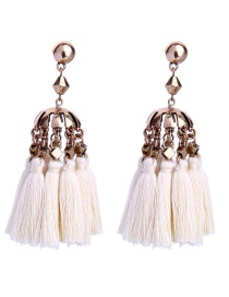 Bohemia White Tassel Decorated Earrings