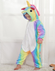Lovely Multi-color Rainbow Shape Decorated Unicorn Children Pajamas