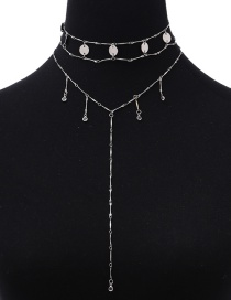 Fashion Silver Color Tassel Decorated Multilayer Necklace