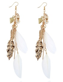 Elegant Gold Color Metal Leaf Shape Decorated Earrings