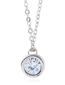 Elegant Silver Color Round Shape Diamond Decorated Necklace