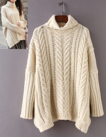 Fashion Beige Braided Shape Decorated Turtleneck Sweater
