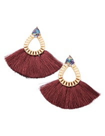 Bohemia Claret-red Waterdrop Shape Decorated Tassel Earrings