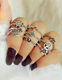 Fashion Silver Color Anchor&flower Decorated Ring Sets(9pcs)