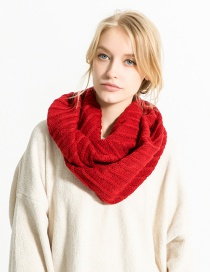 Fashion Red Pure Color Decorated Thicken Scarf
