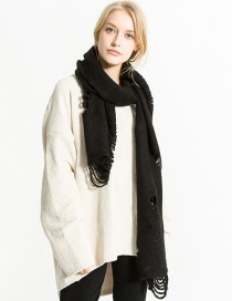 Fashion Black Hollow Out Design Pure Color Scarf