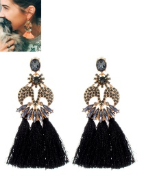Fashion Black Tassel Decorated M Shape Earrings