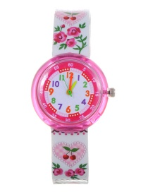 Fashion Plum Red Flower Pattern Decorated Child Watch