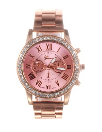 Fashion Pink Diamond Decorated Round Dial Watch