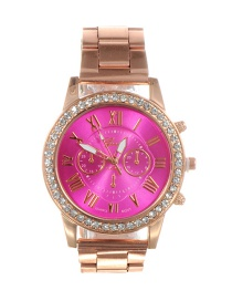 Fashion Plum Red Diamond Decorated Round Dial Watch