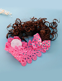 Fashion Plum Red Pearls&flower Decorated Child Wig