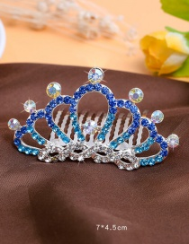 Lovely Blue Round Shape Decorated Crown Hairpin (larger)