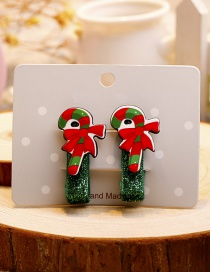 Fashion Red+green Crutch Shape Decorated Christmas Hairpin (1pair)