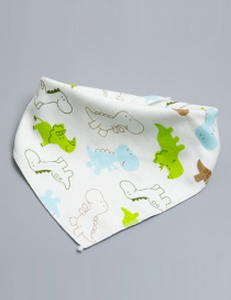 Lovely Green+white Crocodile Shape Decorated Bib