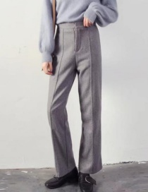 Fashion Gray Pure Color Decorated Pants