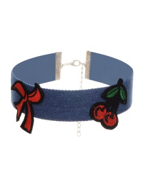 Fashion Blue Embroidery Cherry Decorated Choker