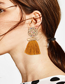 Fashion Yellow Round Shape Design Tassel Earrings