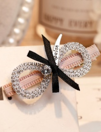 Lovely Pink Full Diamond Decorated Bowknot Hairpin