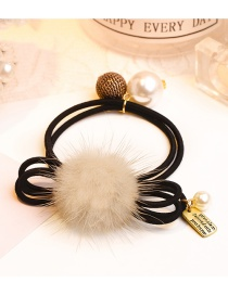 Lovely Beige Pearl&ball Decorated Double Layer Hair Band