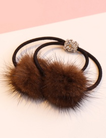 Lovely Dark Coffee Fuzzy Ball Decorated Double Layer Hair Band