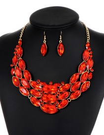 Fashion Red Oval Shape Diamond Decorated Jewelry Sets