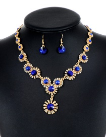 Lovely Sapphire Blue Flower Shape Decorated Jewelry Sets