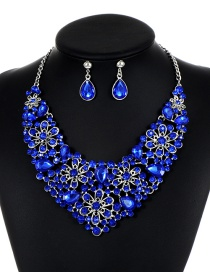 Elegant Sapphire Blue Hollow Out Decorated Jewelry Sets