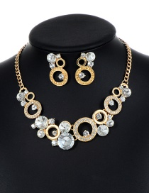 Fashion Gold Color Round Shape Decorated Hollow Out Jewelry Sets