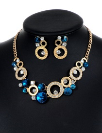 Fashion Blue Round Shape Decorated Hollow Out Jewelry Sets