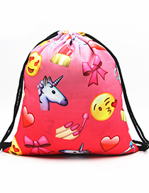 Lovely Watermelon Red Unicorn&expression Pattern Decorated Backpack