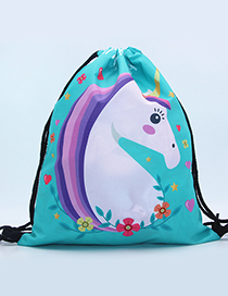 Lovely Light Blue Unicorn Pattern Decorated Backpack