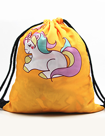 Lovely Yellow Unicorn Pattern Decorated Backpack